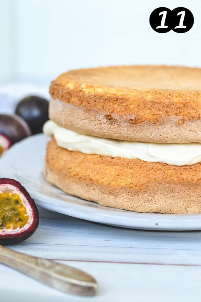 plain sponge cake layered with cream