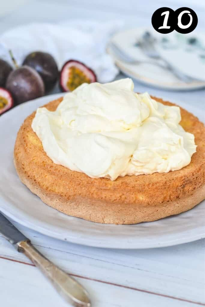 sponge cake topped with whipped cream