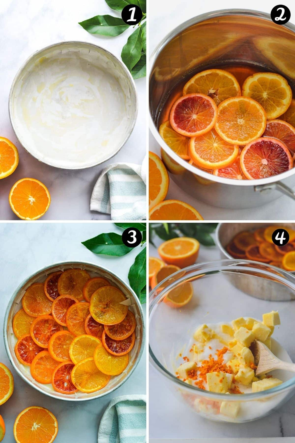 a grid showing orange syrup being made in a pan and orange slices in a cake tin
