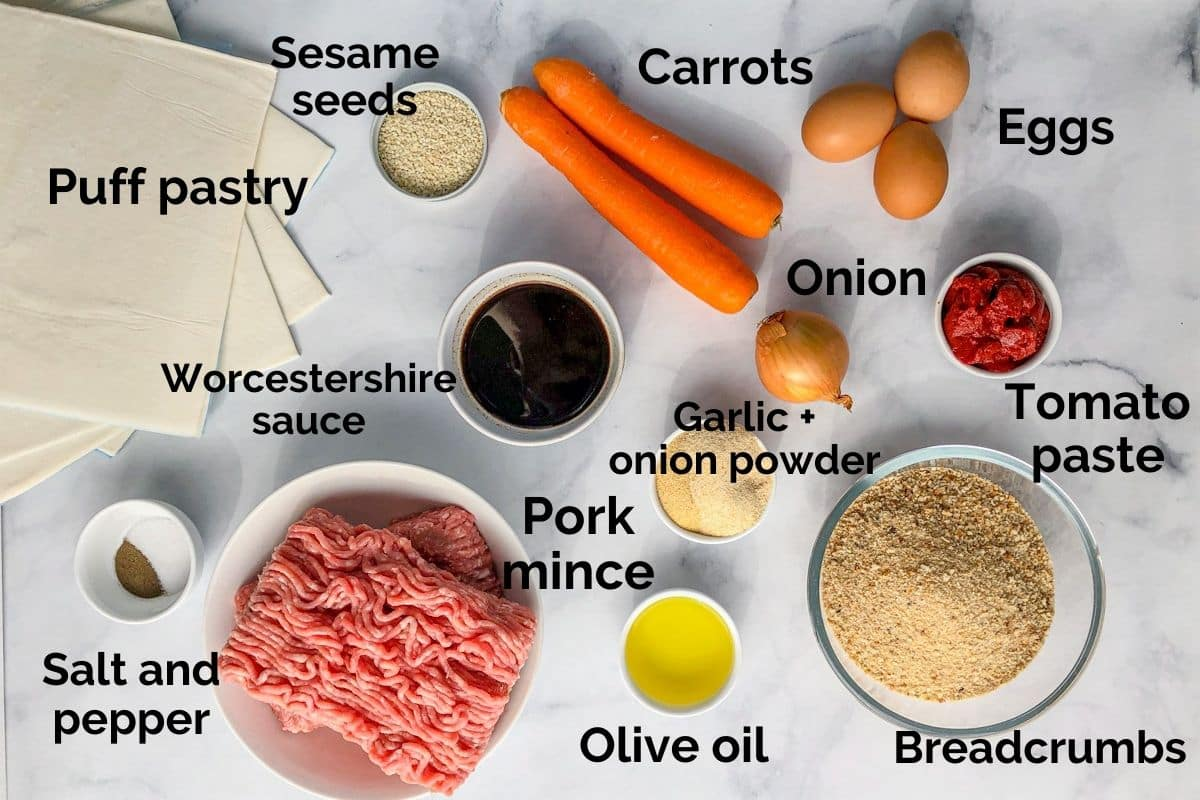 all ingredients for healthy sausage rolls laid out on a table