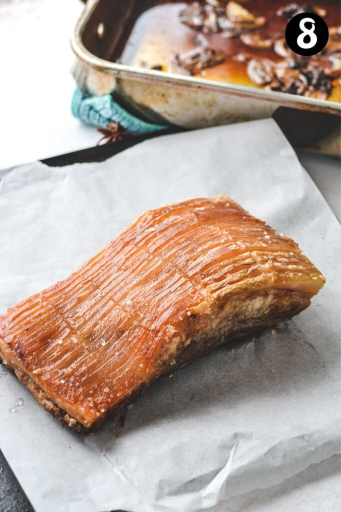pork belly resting on an oven tray