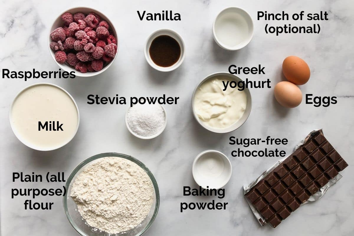 all ingredients for sugar free cupcakes laid out on a table